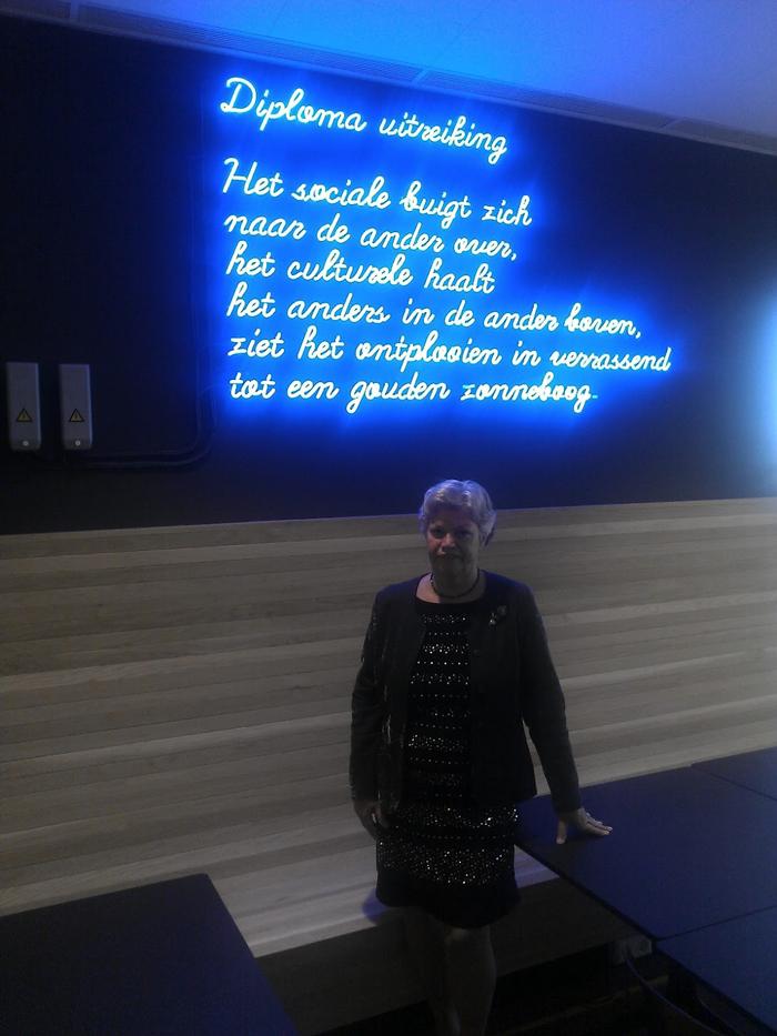 Coby Poelman | dichtregels op de Sanders Law Library bij de Erasmus Universiteit Rotterdam.