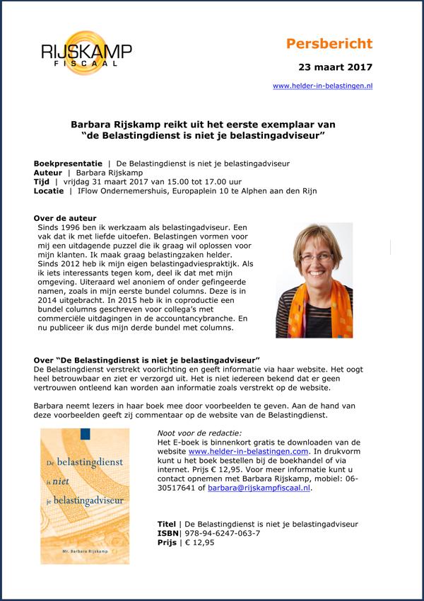 persbericht | De Belastingdienst is niet je belastingadviseur (van Barbara Rijskamp)