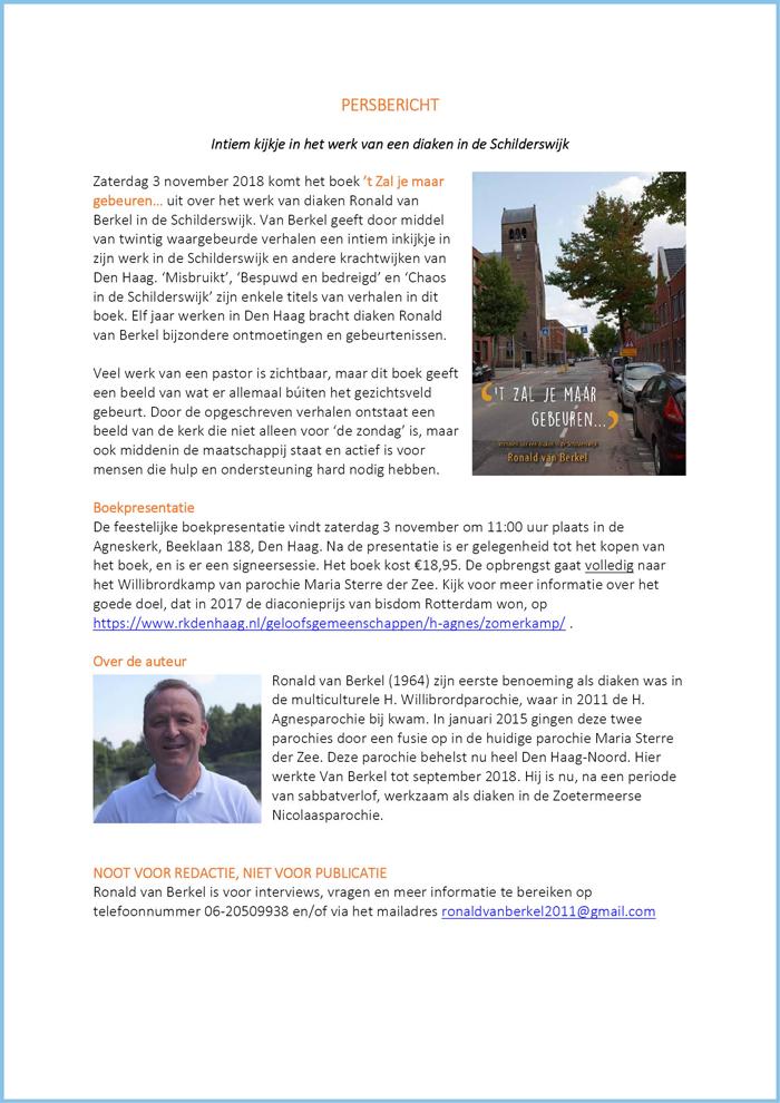 PERSBERICHT | Ronald van Berkel, diaken in de schilderswijk