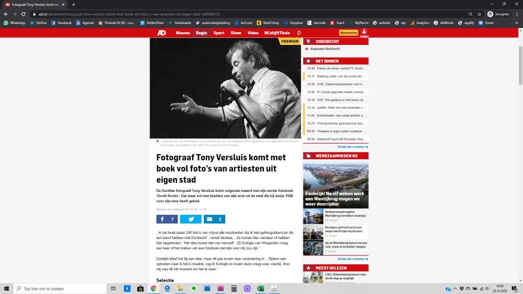 TONY VERSLUIS | 20 jaar muziekgeschiedenis van Dordrecht in foto's